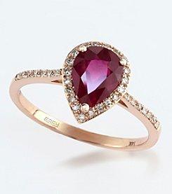 Effy® 14K Rose Gold, Diamond & Lead Glass Filled Ruby Ring