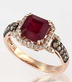 Effy® 14K Rose Gold, White & Espresso Diamonds & Lead Glass Filled Ruby Ring