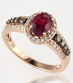 Effy® Ruby Royale Collection 14K Rose Gold, White & Espresso Diamonds & Lead Glass Filled Ruby Ring