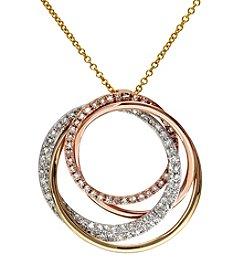 Effy® Trio Collection 14K White/Yellow/Pink Diamond Pendant