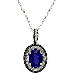 Effy® 14K White Gold, White & Espresso Diamonds & Manufactured Diffused Sapphire Pendant