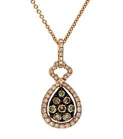 Effy® 14K Rose Gold, White & Espresso Diamond Pendant