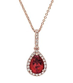 Effy® 14K Rose Gold, Diamond & Lead Glass Filled Ruby Pendant