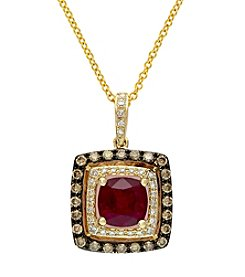 Effy® 14K Yellow Gold, White & Espresso Diamonds & Lead Glass Filled Ruby Pendant