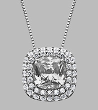 Balentino® White Center Stone Sterling Silver Pendant & Chain Made With Swarovski® Cubic Zirconia Elements
