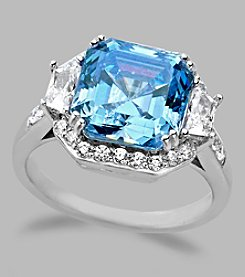 Balentino® Sterling Silver Ring With Light Blue Fancy Cut Center Stone Made With Swarovski® Cubic Zirconia Elements
