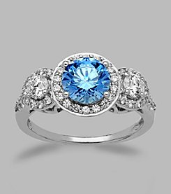 Balentino® Sterling Silver 3-Stone Ring with Light Blue Center Stone Made with Swarovski® Cubic Zirconia Elements