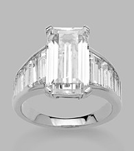 Balentino® Emerald Cut Center Stone Sterling Silver Ring Made With Swarovski® Cubic Zirconia Elements