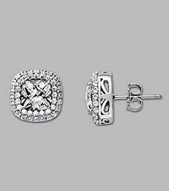 Balentino® Sterling Silver Stud Earrings Made With Swarovski® Cubic Zirconia Elements