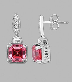 Balentino® Sterling Silver Pink Drop Earrings Made With Swarovski® Cubic Zirconia Elements