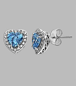 Balentino® Sterling Silver Heart Stud Earrings Made With Swarovski® Cubic Zirconia Elements