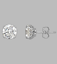 Balentino® Sterling Silver White Round Cut Stud Earrings Made With Swarovski® Cubic Zirconia Elements