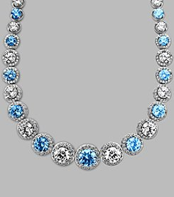 Balentino® Sterling Silver Blue and White Swarovski Cubic Zirconia Necklace