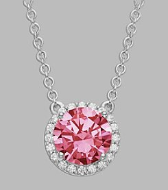 Balentino® Light Pink Center Stone Sterling Silver Necklace Made With Swarovski® Cubic Zirconia Elements