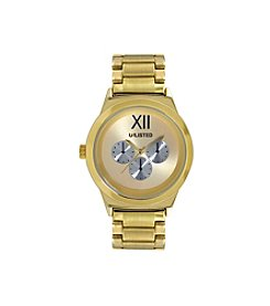 Unlisted by Kenneth Cole® Men's Round Goldtone Case, Dial & Bracelet Watch with Three Silvertone Eyes