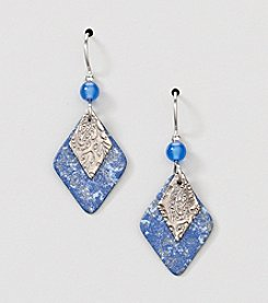 Silver Forest® Layered Blue Diamond Bead Drop Earrings