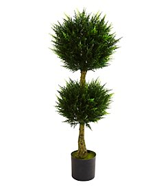 Nearly Natural® Indoor Outdoor 4' Double Ball Cypress Topiary UV Resistant