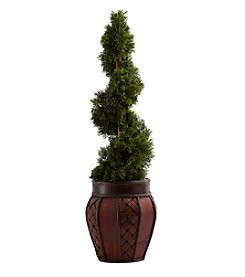 Nearly Natural® Cedar Spiral with Decorative Planter