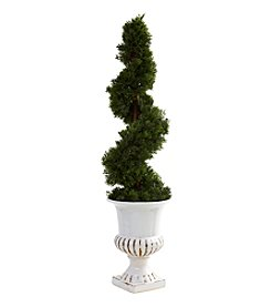Nearly Natural® Indoor Outdoor Cedar Spiral with Urn