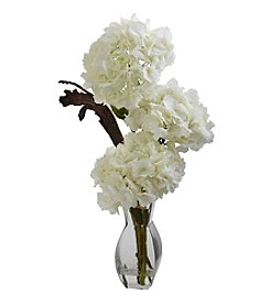 Nearly Natural® Triple Hydrangea with Vase