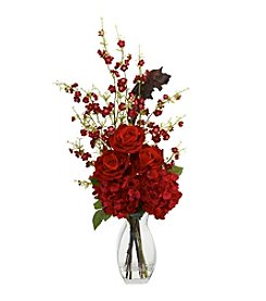 Nearly Natural® Hydrangea, Cherry Blossom and Rose Arrangement