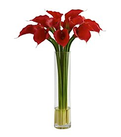 Nearly Natural® Red Calla Lily with Large Cylinder Vase