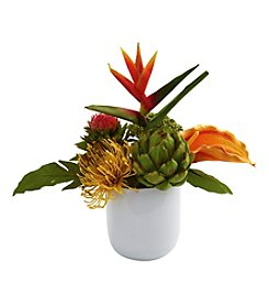 Nearly Natural® Tropical Floral Arrangement with White Glass Vase