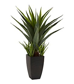 Nearly Natural® Agave with Black Planter