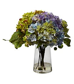 Nearly Natural® Hydrangea with  Glass Vase Arrangement
