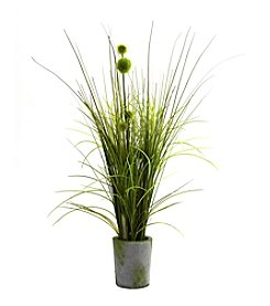 Nearly Natural® Grass and Dandelion with Cement Planter
