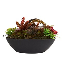 Nearly Natural® Mixed Succulent with Oval Black Container