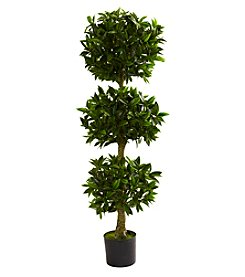 Nearly Natural® Indoor Outdoor UV Resistant 5' Triple Bay Leaf Topiary