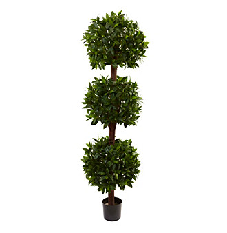 Nearly Natural® 6.5' Sweet Bay Triple Ball Topiary