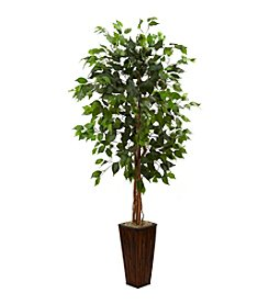 Nearly Natural® 5.5' Ficus Tree with Bamboo Planter