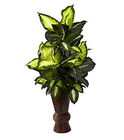 Nearly Natural® Golden Dieffenbachia with Bamboo Planter
