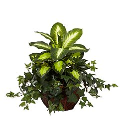Nearly Natural® Dieffenbachia and Ivy with Decorative Planter