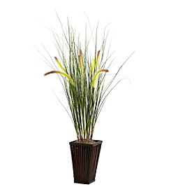Nearly Natural® Grass with Cattails and Bamboo Planter