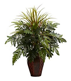 Nearly Natural® Mixed Grass and Fern with Decorative Planter