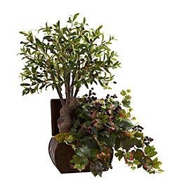 Nearly Natural® Olive Tree and Grape Leaf with Chest