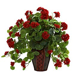 Nearly Natural® Geranium with Decorative Planter