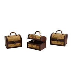 Nearly Natural® Set of Three Decorative Chest with Map