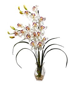 Nearly Natural® Cymbidium Orchid with Vase Arrangement