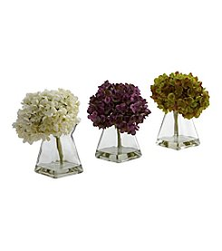 Nearly Natural® Set of Three Hydrangea with Vase