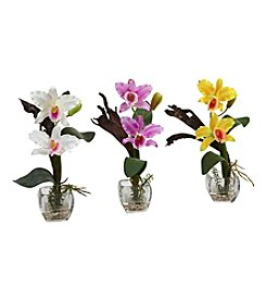 Nearly Natural® Set of Three Mini Cattleya Orchid Arrangement