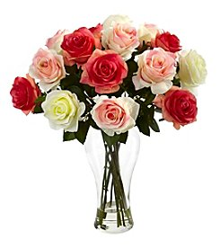 Nearly Natural® Assorted Blooming Roses with Vase