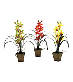 Nearly Natural® Set of Three Cymbidium Orchid with Vase