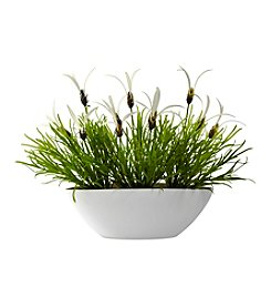 Nearly Natural® Indoor Outdoor Grass and White Floral with White Planter