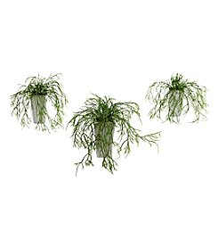 Nearly Natural® Set of Three Wild Grass with White Vase