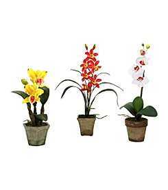 Nearly Natural® Set of Three Potted Orchid Mix
