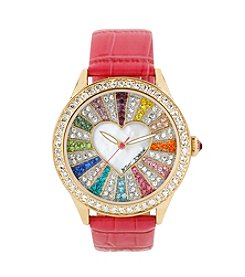 Betsey Johnson® Multicolored Crystal Set Dial Watch